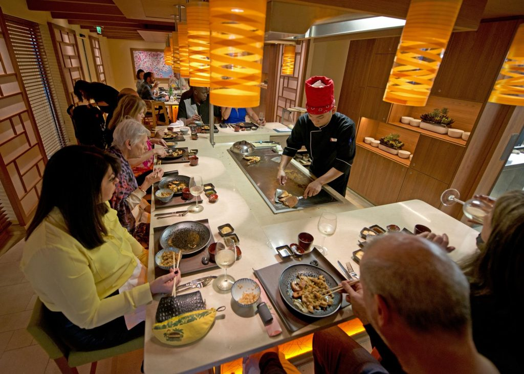 Carnival Horizon's Bonsai Teppanyaki provides a memorable dining experience for multi-generational family groups with young adults. Photo Credit: Andy Newman/Carnival Cruise Line
